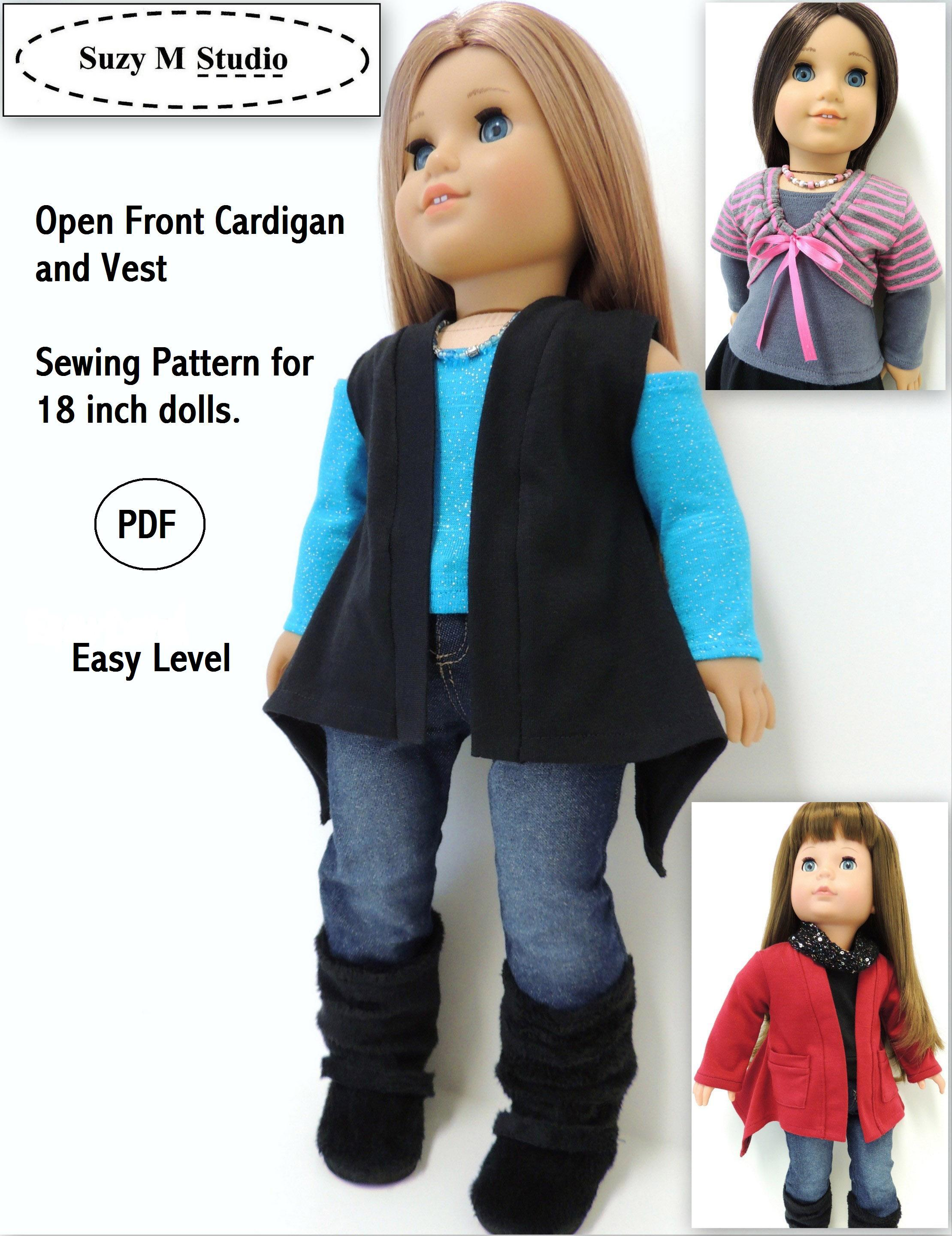 Suzymstudio doll clothes and sewing patterns open front cardigan pattern jeuxipadfo Images