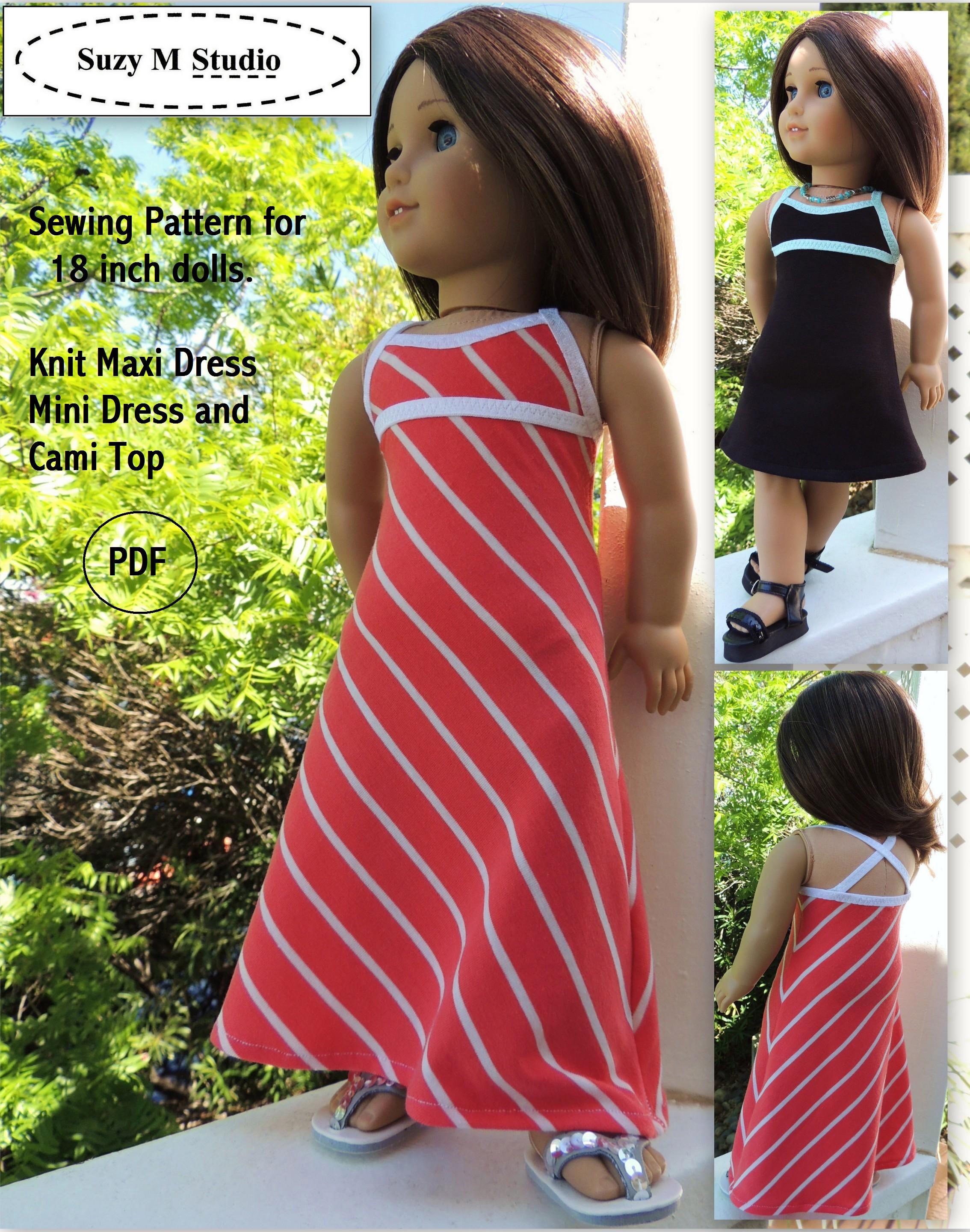 Knit Maxi Dress Pattern : SuzyMStudio Doll Clothes and Sewing Patterns