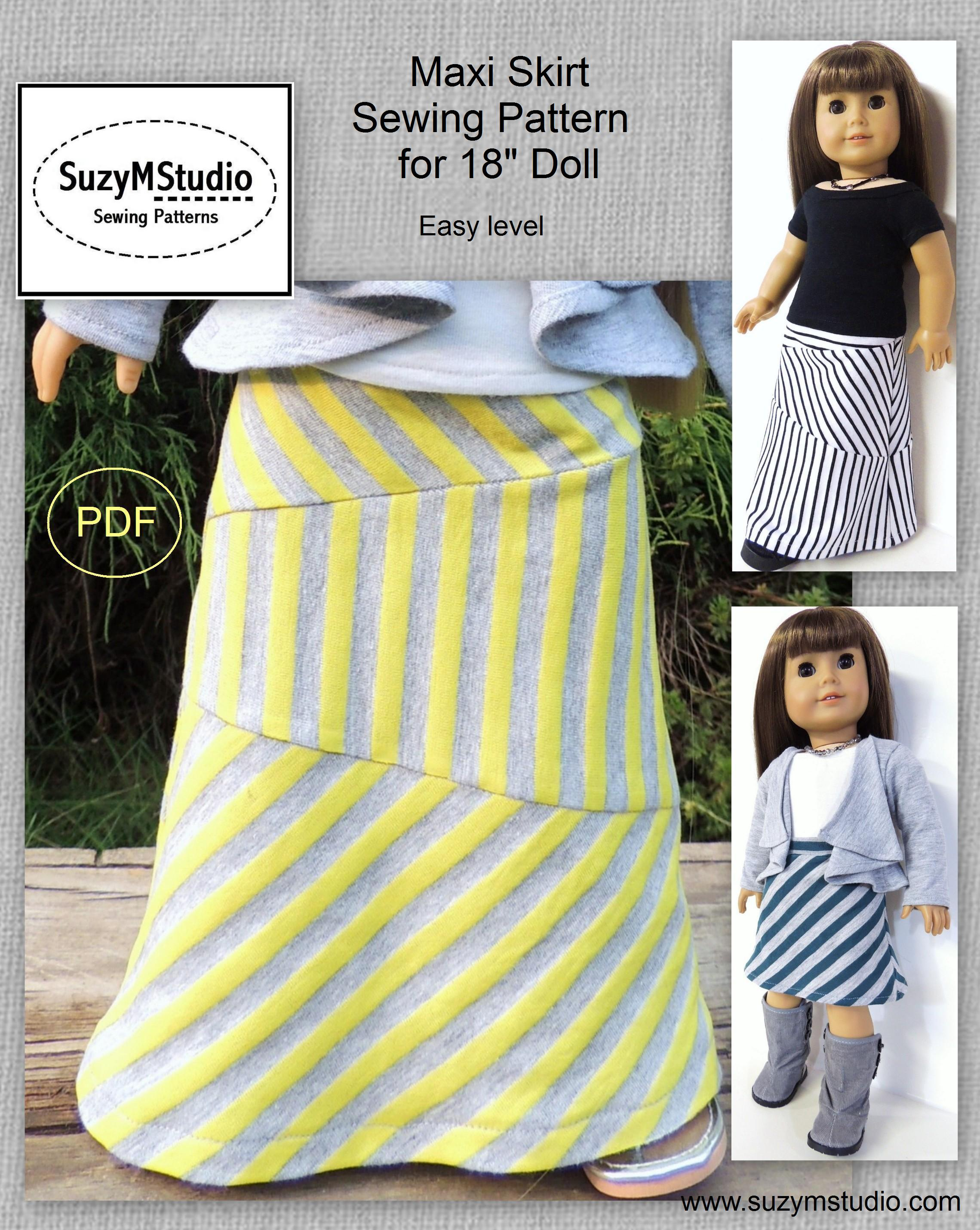 maxi skirt sewing pattern for 18 inch doll suzymstudio